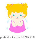 Little girl with a cold shivering cartoon vector. 30707910