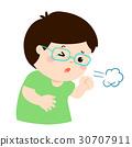Little boy coughing vector cartoon. 30707911