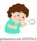 Little boy coughing vector cartoon. 30707912