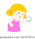 Little girl coughing vector cartoon. 30707914