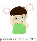 Little boy got high temperature vector cartoon. 30707915