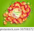 Vector green background with floral frame and 30708372