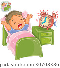 Vector little child woke up in the morning 30708386