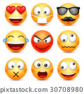 Smiley,emoticon set. Yellow face with emotions 30708980
