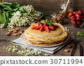 delicious pancakes on wooden table with fruits 30711994