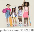 Children Girlfriends Smiling Happiness Friendship Togetherness Studio Portrait 30720838
