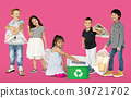 Diverse Group Of Kids Recycling Garbage 30721702