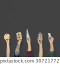 Ecology human hand holding stuff for recycle 30721772