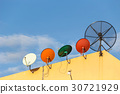 Several satellite dish installed on the house roof with blue sky 30721929