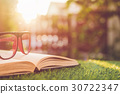 Glasses and book on green grass with blur and bokeh in sunrise time background 30722347