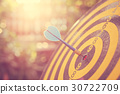 Blue dart arrow in the center of dartboard. Blur and bokeh in sunrise time background. Warm vintage effect style 30722709