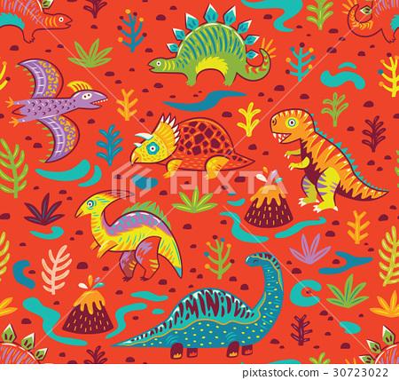 Seamless pattern with cartoon dinosaurs 30723022