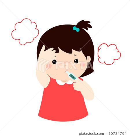 Little girl got high temperature vector cartoon.. 30724794