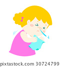 Little girl sneezing cartoon vector. 30724799