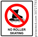Please, No rollerblades sign in vector isolated on 30727793