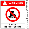 Please, No rollerblades sign in vector isolated on 30727875