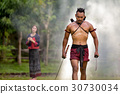 Portrait Ancient warrior man thailand people for b 30730034