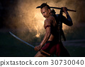 Portrait Ancient warrior man thailand people for background, 30730040