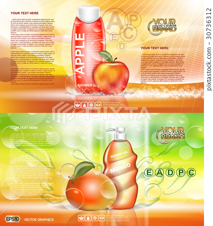 Digital vector red and orange shower gel 30736312