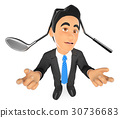 3D Businessman with a golf club hit on head 30736683