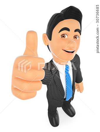 3D Businessman with thumb up 30736685