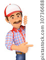 3D Handyman pointing aside with finger 30736688