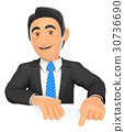 3D Businessman pointing down with finger 30736690