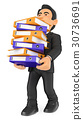 3D Businessman loaded with many filing cabinets 30736691