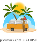 Retro travel van with surfing board and palm tree 30743050