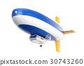 Airship or dirigible balloon, 3D rendering 30743260