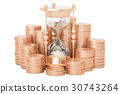 Gold coins with hourglass, 3D rendering 30743264