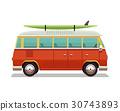 Retro travel red van icon. Surfer van. Vintage 30743893