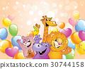 Cartoon animals, cheerful background 30744158