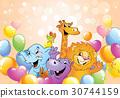 Cartoon animals, cheerful background 30744159