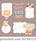 Cartoon animals greeting cards tags and stickers 30746135