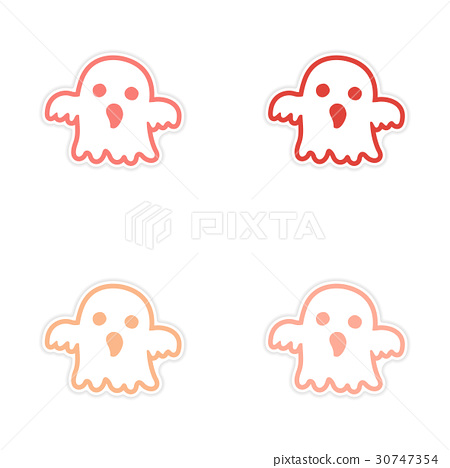 assembly realistic sticker design on paper ghost 30747354
