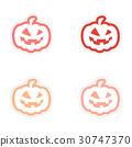 assembly realistic sticker design on paper pumpkin 30747370