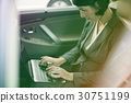 Photo Gradient Style with Businesswoman Working Using Laptop Car Inside 30751199