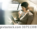 Businesswoman using digital tablet on backseat of the car 30751308