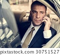 Businessman Talking Using Phone Car Inside 30751527