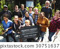 Group of Diverse People with Farmers Market Board 30751637