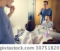 Dad Son Toothbrush Morning Lifestyle 30751820