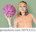Caucasian Blonde Woman Holding Basketball 30753151