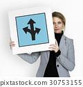 Three Ways Arrow Intersection Road Sign 30753155