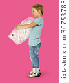 Ecology little boy holding bag of plastic bottle for recycle 30753788