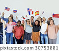 Group of people holding national flags studio portrait 30753881