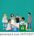 Diverse Group Of Kids Recycling Garbage 30753937
