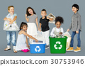 Diverse Group Of Kids Recycling Garbage 30753946