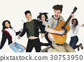 Group of Diverse People Jumping with Guitar 30753950