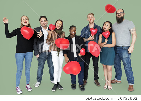 Group of Diverse People Holding Heart Balloons Cheerfully 30753992
